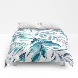 Teal manic botanic Comforters