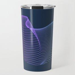 Abstract waves over navy Travel Mug