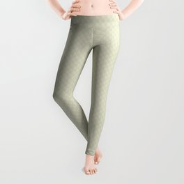 Beige Puffy Stitched Quilt Fabric Leggings