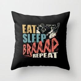 Eat Sleep Braap Repeat Snowmobile Rider Throw Pillow
