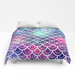 Mermaid Scales Pink Turquoise Blue Comforters