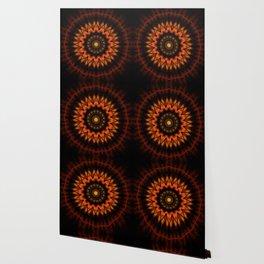 Marigold Red Mandala design Wallpaper