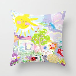 My happy world Doodle for children room Nursery home decor Throw Pillow