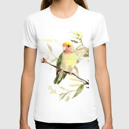Lovebird, yellow green cute bird artwork T-shirt