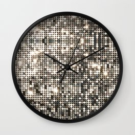 Silver disco glitter and sparkles Wall Clock