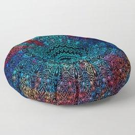 Bohemian Passion Blue & Red Mandala Design Floor Pillow