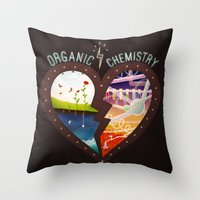 chemistry Throw Pillows featuring Organic Chemistry by Jaclyn Tan