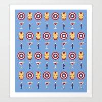 superheroes Art Prints featuring Superheroes by Kelslk