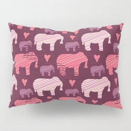 Purple and Pink Kids Baby Elephants Silhouette Pillow Sham