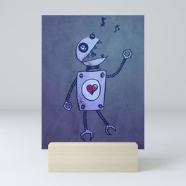 Happy Cartoon Singing Robot Mini Art Print