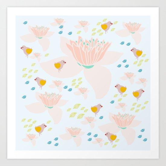 Lotus and babybird Art Print