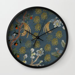 Blue Chinese Forest Wall Clock