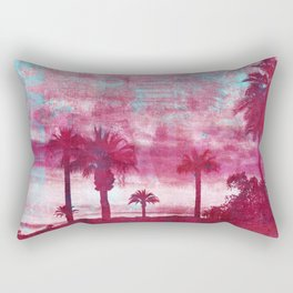 Pacific Island Grunge Look Mixed Media Art Rectangular Pillow