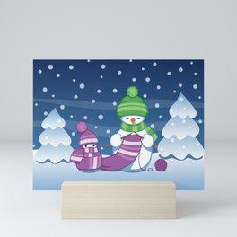 Crafty Snowman Knitting Scarf Mini Art Print
