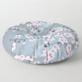 Dusky Pink Grayish Blue Cherry Blossom Floor Pillow