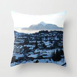 Twilight in the Ski Resort Throw Pillow