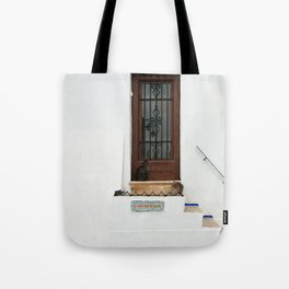 Two cats on White Stairs Tote Bag