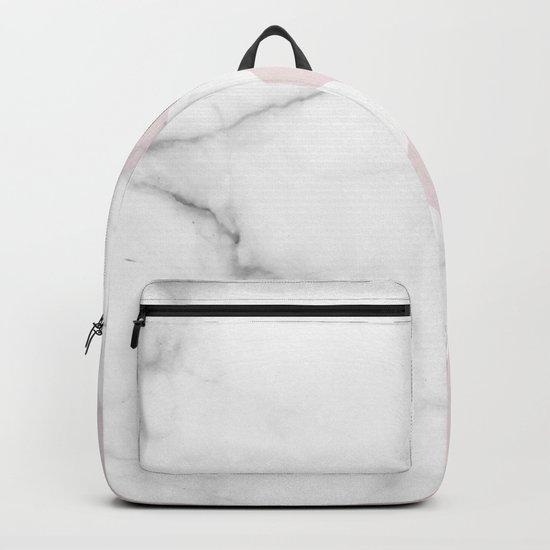 White Marble Scandinavian Geometric Blush Pink Squares Backpack