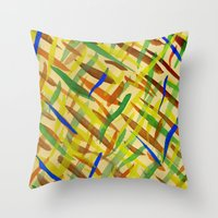 the strokes Throw Pillows featuring brush strokes by littlesilversparks
