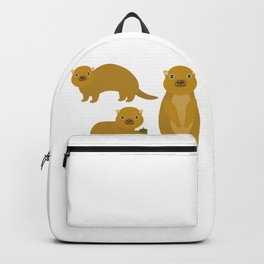 Set of funny Gopher ground squirrel with acorn on white background. Vector illustration Backpack