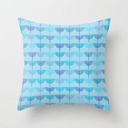 Hanukkah Chanukah Menorah Chanukkiah Pattern in Blue and Turquoise  Throw Pillow