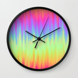 Neon Rainbow Rain Wall Clock