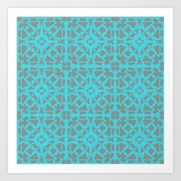 gray pattern Art Prints featuring Turquoise and Gray Pattern  by xiari