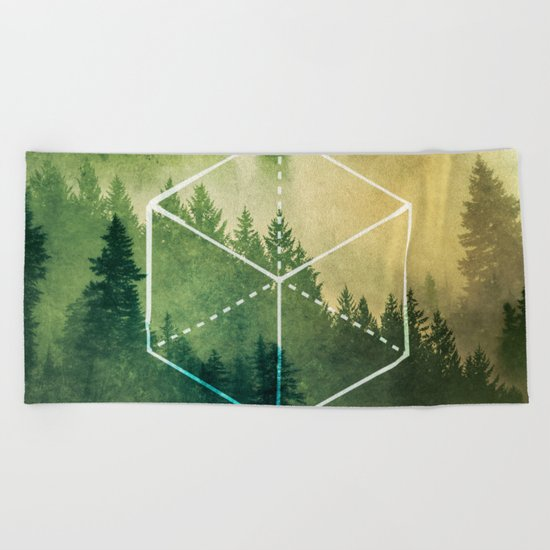 The Elements Geometric Nature Element of Earth Beach Towel