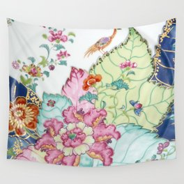 Damask antique floral porcelain china chinoiserie plate of flowers and crane bird vintage photo Wall Tapestry