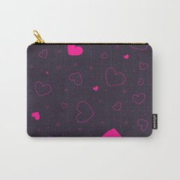 Neon pink scattered hearts on a dark moody background. Carry-All Pouch