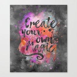 Create Magic handlettering colorful watercolor art Canvas Print