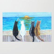 Cat Beach Sunset Rug