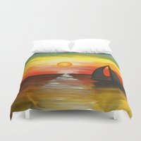 tequila Duvet Covers featuring Tequila Sunset by William Gushue