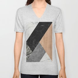Marble and Wood Abstract Unisex V-Neck