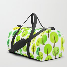Doodled trees watercolor Duffle Bag