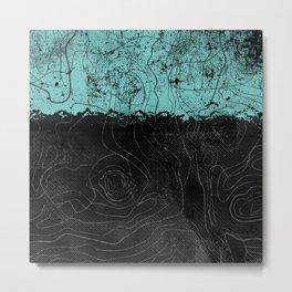 Topography Aqua Metal Print