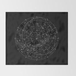 Constellation Map - Black & White Throw Blanket