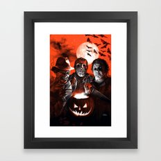 Freddy Krueger Jason Voorhees Michael Myers Super Villians Holiday Framed Art Print