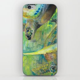 "Giant Sea Turtle Watercolor Fine Art Print Reproduction Painting ""The Lovers"" iPhone Skin"