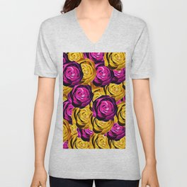 rose pattern texture abstract background in pink and yellow Unisex V-Neck