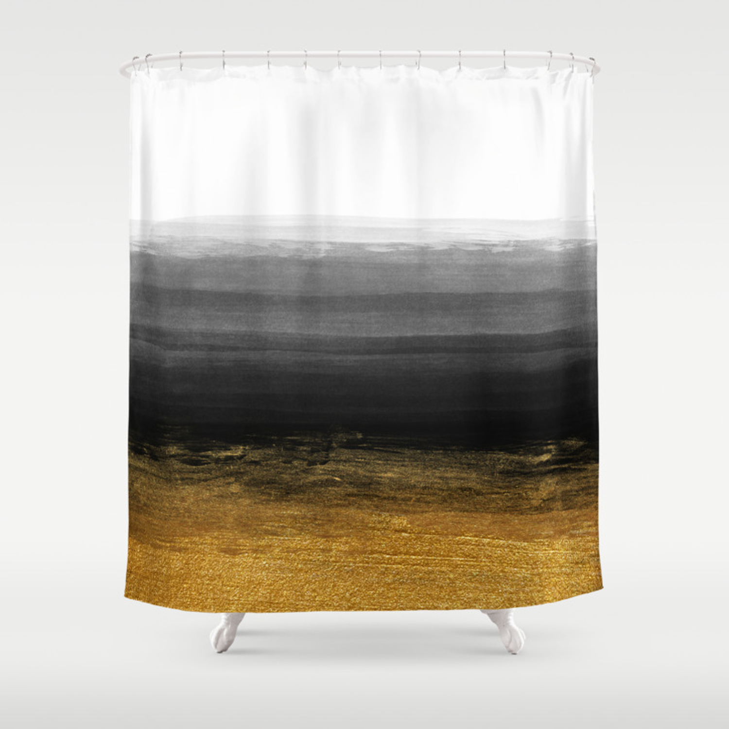 Black And Gold Grunge Stripes On Clear White Backround I Stripes Striped Shower Curtain