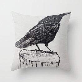 Observant Crow Throw Pillow