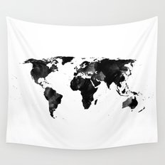 Black watercolor world map Wall Tapestry