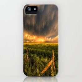 Breadbasket - Golden Light Illuminates Fence and Field in Kansas iPhone Case