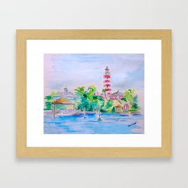 Elbow Reef Lighthouse Hope Town, Abaco, Bahamas Watercolor painting Framed Art Print