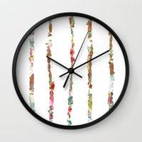 decal Wall Clocks featuring Tidal Wave by Caroline Sansone