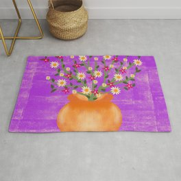 Whimsical Potted Plant & Flowers Rug