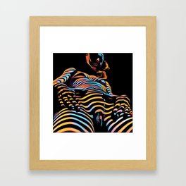1731s-AK Striped Vulval Portrait Zebra Woman Power Pose by Chris Maher Framed Art Print