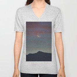 Moon Sunrise And Veleta Mountain. 3,482 meters. Unisex V-Neck