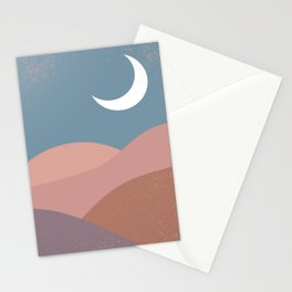 Mid Century Magic  Modern Minimalist Blue Pastel Pink Red Hue Moon Landscape Sun, Mountain River Stationery Cards
